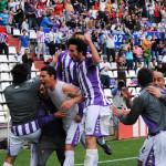 Real Valladolid celebrando victoria